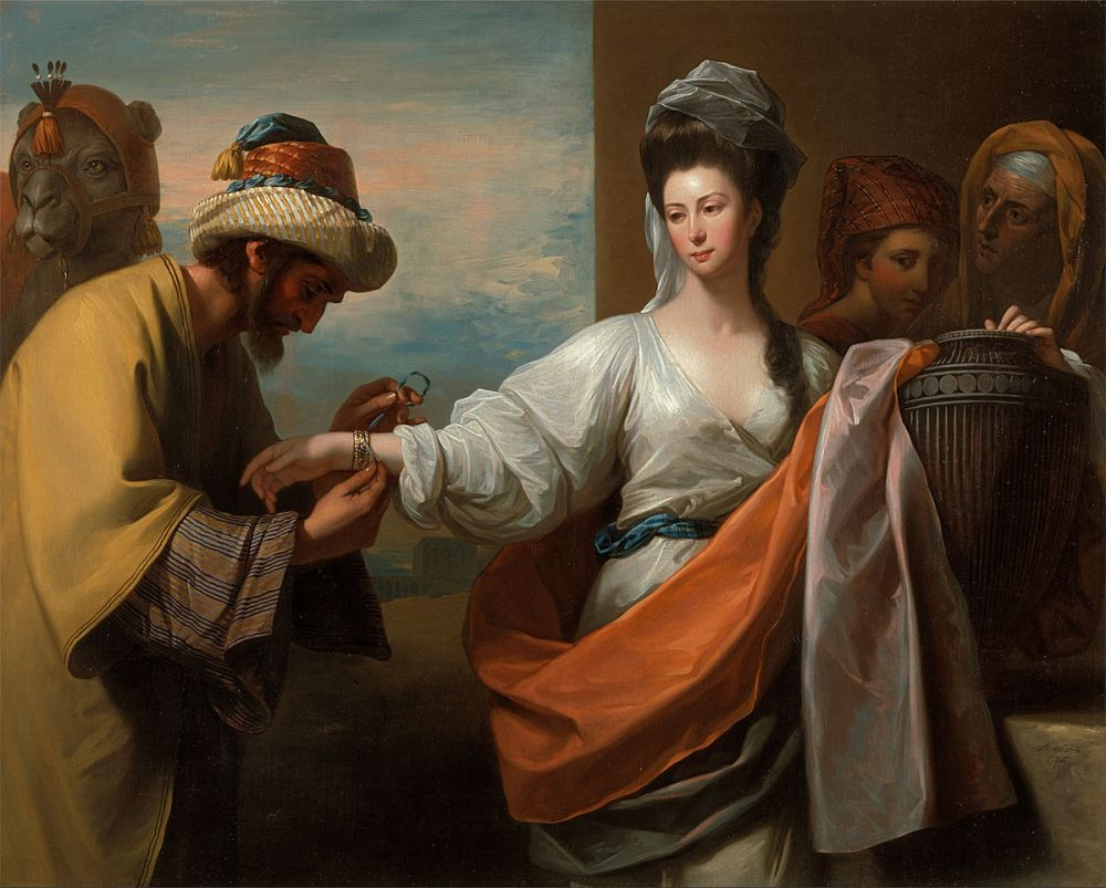 Benjamin_West_-_Isaac's_servant_tying_the_bracelet_on_Rebecca's_arm_-_Google_Art_Project.jpg